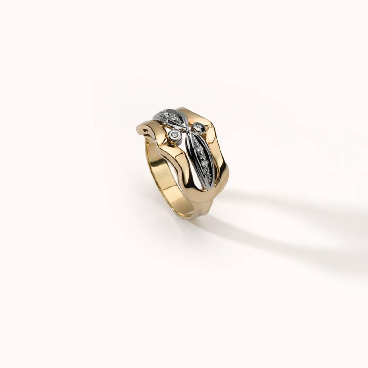 14 karátos sárga-fehér arany gyűrű gyémántokkal