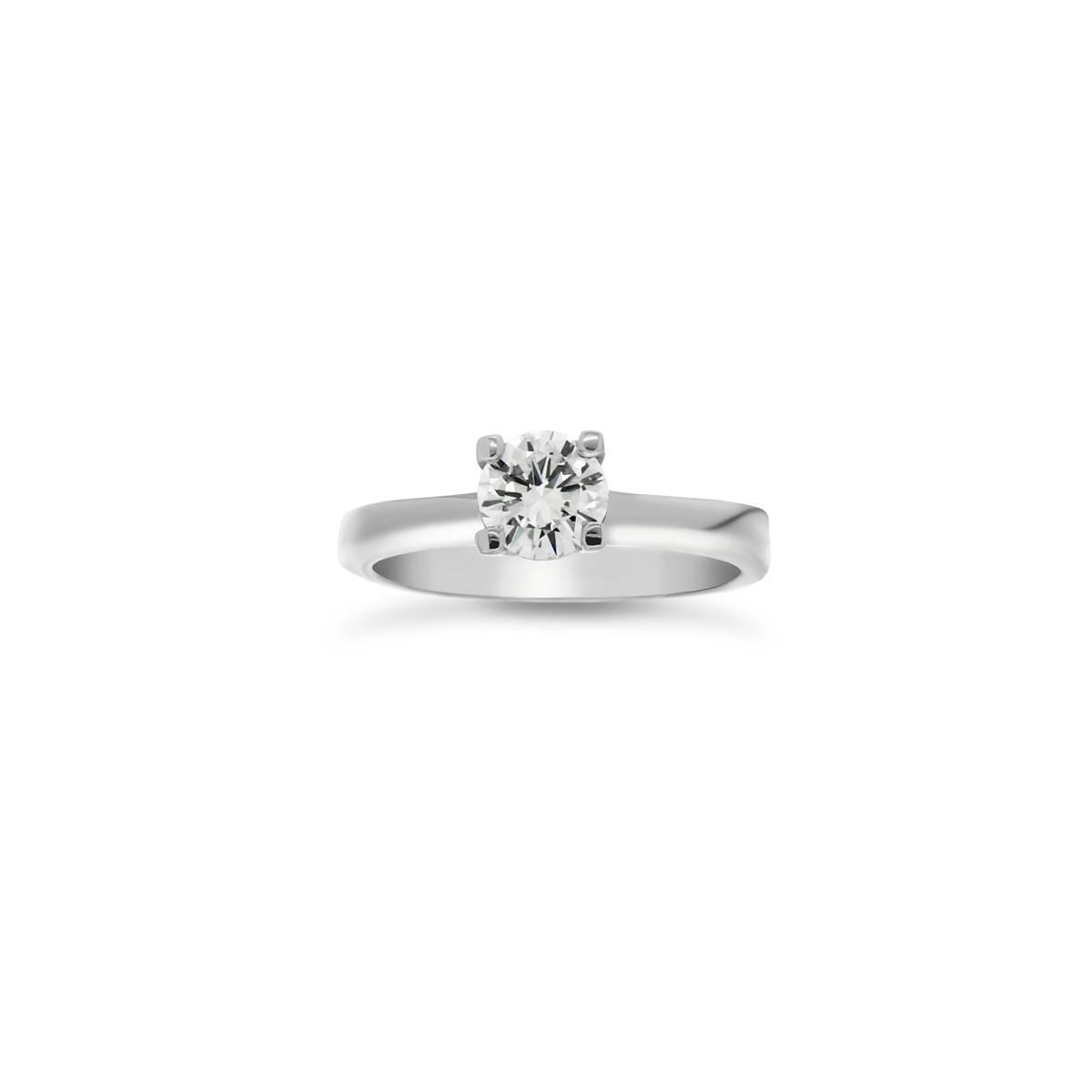 Fehér arany solitaire gyűrű gyémánt kővel