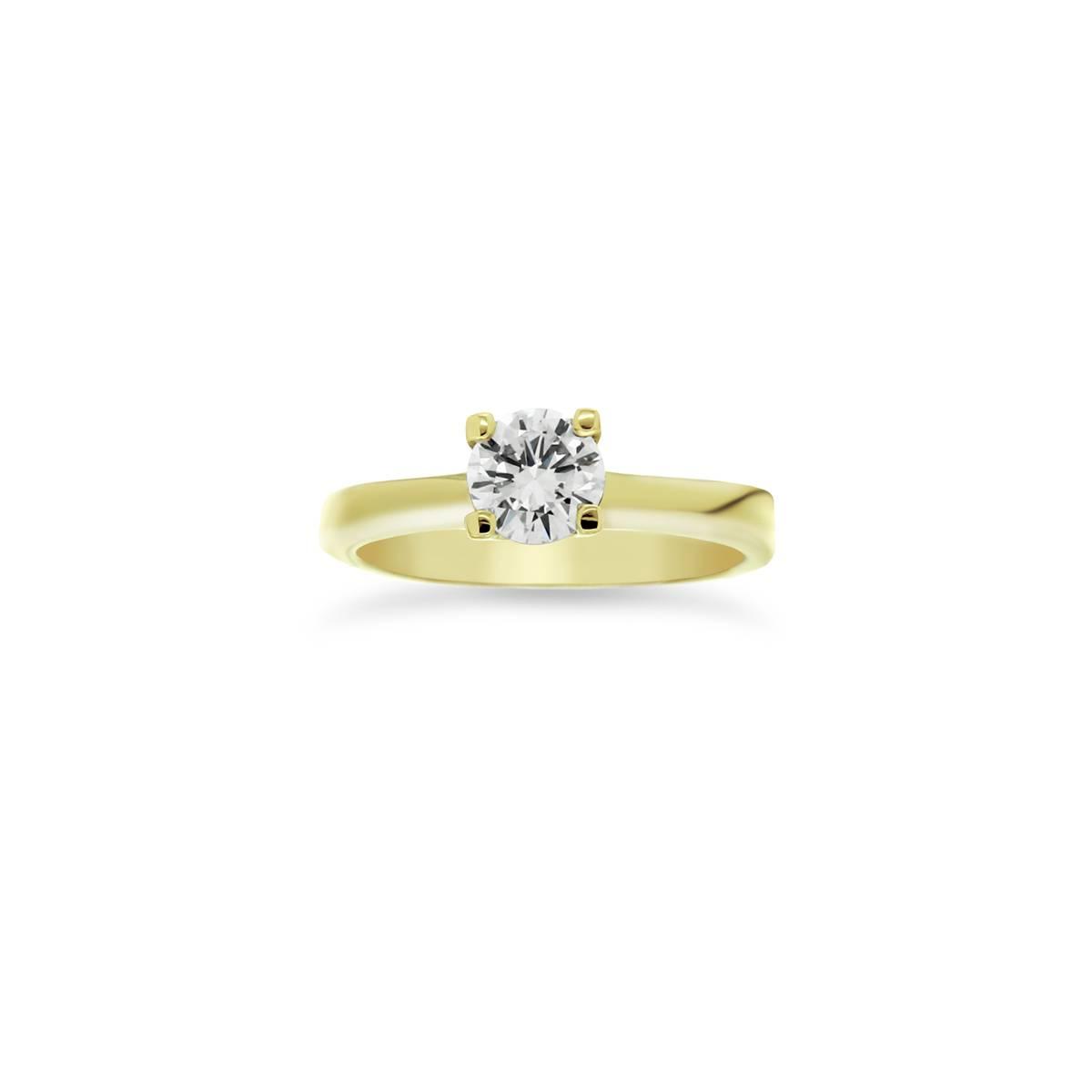 Sárga arany solitaire gyűrű gyémánt kővel