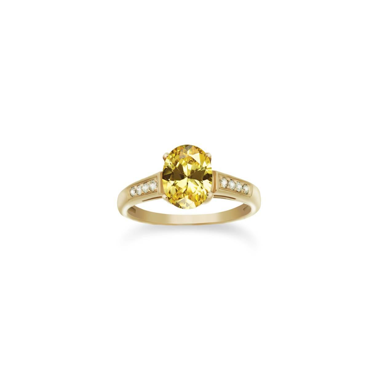Sárga arany eljegyzési gyűrű citrin és gyémánt kövekkel